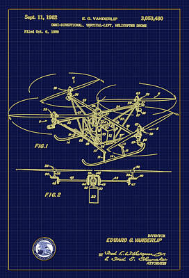 Digital Art - Helicopter Drone Patent Drawing by Carlos Diaz