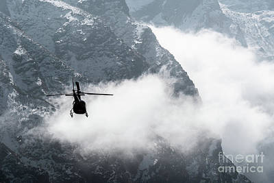 Photograph - Helicopter Flying In The Himalayas In Nepal by Didier Marti