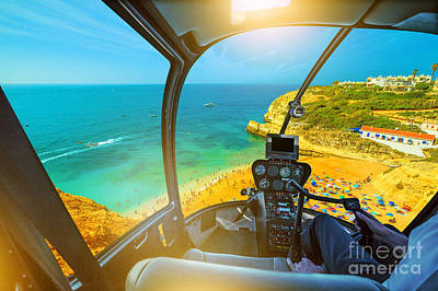 Photograph - Helicopter On Benagil Beach by Benny Marty
