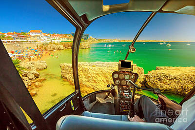 Photograph - Helicopter On Cascais Rainha Beach by Benny Marty