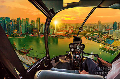 Photograph - Helicopter On Marina Bay Singapore by Benny Marty