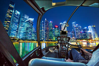 Photograph - Helicopter On Marina Bay Waterfront by Benny Marty