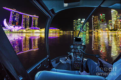 Photograph - Helicopter On Singapore by Benny Marty