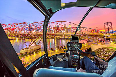 Photograph - Helicopter On Singapore Bridge by Benny Marty