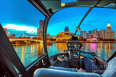 Photograph - Helicopter On Singapore Harbor by Benny Marty