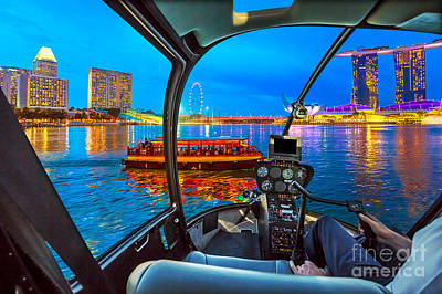 Photograph - Helicopter On Singapore Skyline by Benny Marty