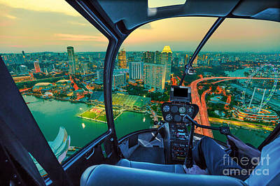 Photograph - Helicopter On Singapore Twilight by Benny Marty