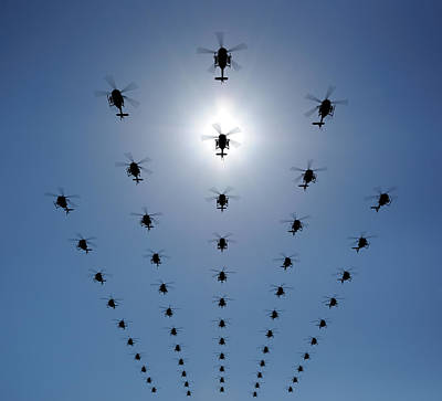 Flying Photograph - Helicopter Silhouette In The Sky by Georgo