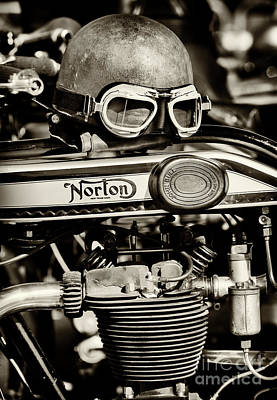 Photograph - Helmet And Goggles On A Vintage Norton by Tim Gainey