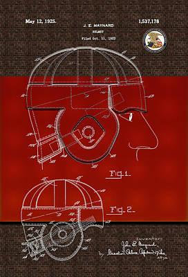 Photograph - Helmet Patent Drawing 1923 by Carlos Diaz