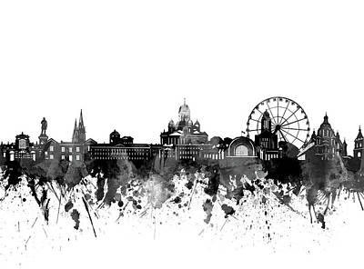 Abstract Skyline Royalty-Free and Rights-Managed Images - Helsinki Skyline Bw by Bekim M