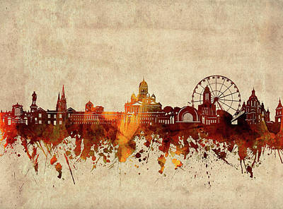 Abstract Skyline Royalty-Free and Rights-Managed Images - Helsinki Skyline Sepia by Bekim M