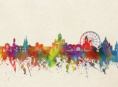 Abstract Skyline Royalty-Free and Rights-Managed Images - Helsinki Skyline Watercolor by Bekim M