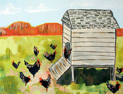 Wall Art - Painting - Hen House  by Kaley Alie