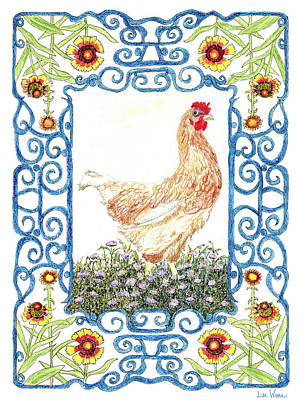 Painting - Hen In The Garden by Lise Winne
