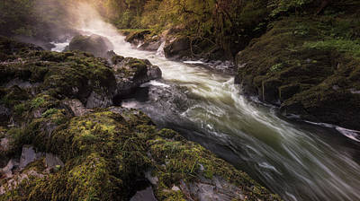Elliott Coleman Royalty-Free and Rights-Managed Images - The Teifi at Henllan Falls by Elliott Coleman