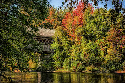 Photograph - Henniker New Hampshire Covered Bridge by Jeff Folger
