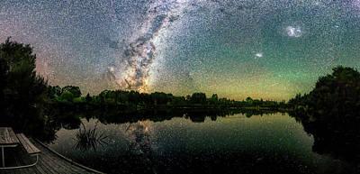 Photograph - Henry Lake New Zealand Under  Southern Hemisphere Skies  By Olena Art by OLena Art Brand