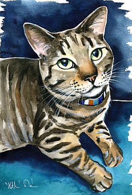 Painting - Henry Tabby Cat Painting by Dora Hathazi Mendes