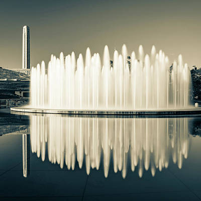 Photograph - Henry Wollman Bloch Fountain And Liberty Memorial - Square Sepia I by Gregory Ballos