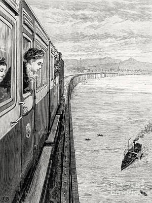 Drawing - Her Majesty Queen Victoria Crossing Tay Bridge, Dundee, 1879 by English School