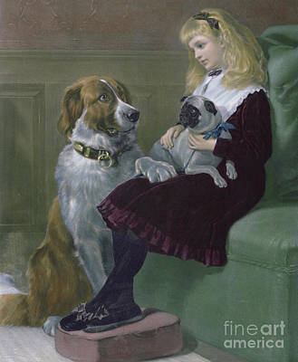 Drawing - Her Only Playmates Engraving by Heywood Hardy