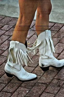 Photograph - Her White Fringed Scuffed Boots by Alice Gipson