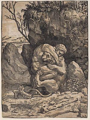 Drawing - Hercules And The Nemean Lion by Ugo da Carpi
