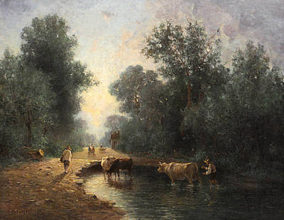 Painting - Herd And Herdsmen At The Watering Place In The Wood by Constant Troyon
