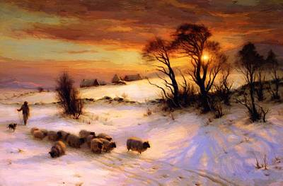 Joseph Farquharson Wall Art - Painting - Herding Sheep In A Winter Landscape At Sunset by Farquharson Joseph