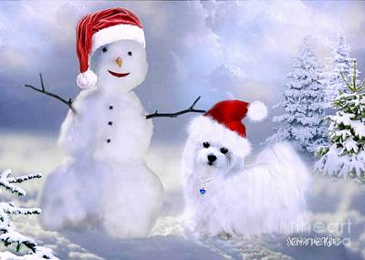 Mixed Media - Hermes And Snowman by Morag Bates