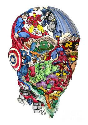 Marker Wall Art - Drawing - Heroic Mind by John Ashton Golden