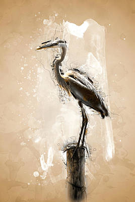 Heron On Post Art Print