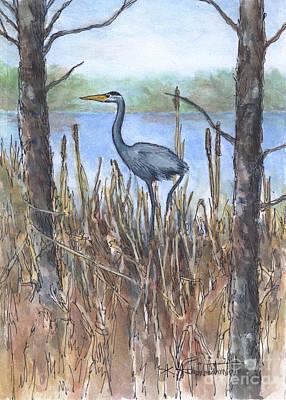 Wall Art - Mixed Media - Heron On The Shore by Kerry Kupferschmidt