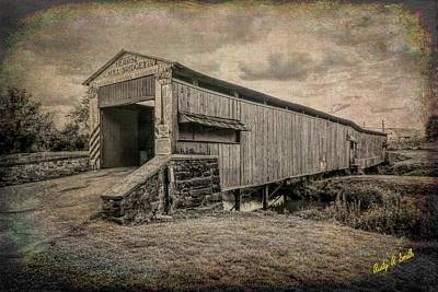 Digital Art - Herr's Mill Covered Bridge Lancaster Pa. by Rusty R Smith