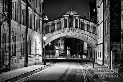 Photograph - Hertford Bridge At Night Monochrome by Tim Gainey