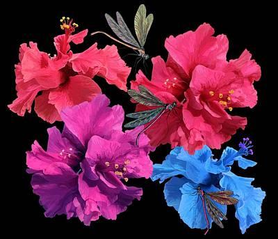 Hibiscus Dragonfly Art Print