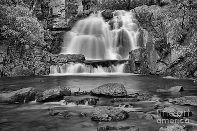 Photograph - Hickory Run Pocono Waterfall Black And White by Adam Jewell