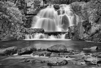 Photograph - Hickory Run State Park Falls Black And White by Adam Jewell