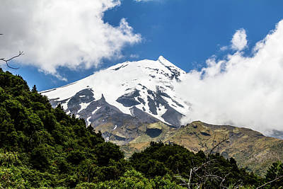 Photograph - Hidden Behind Some Clouds The Snow Caps Of Mount Taranaki Still  by David Butler