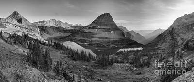 Photograph - Hidden Lake Golden Glow Reflections Panorama Black And White by Adam Jewell