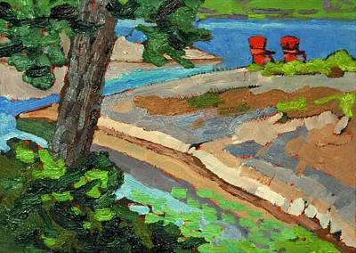 Painting - Hidden Red Chairs by Phil Chadwick
