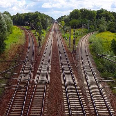 High Angle View Of Empty Railroad Tracks Art Print by Thomas Albrecht / Eyeem