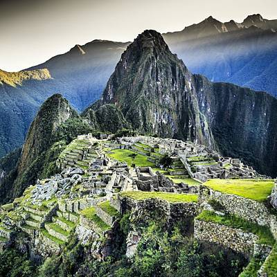 High Angle View Of Machu Picchu Against Art Print by Diego Cambiaso / Eyeem