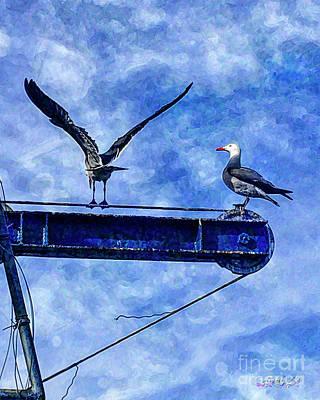 Digital Art - High Diving Gulls by Rhonda Strickland