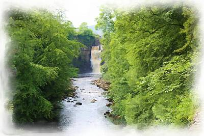Digital Art - High Force Waterfall Painting by JLowPhotos