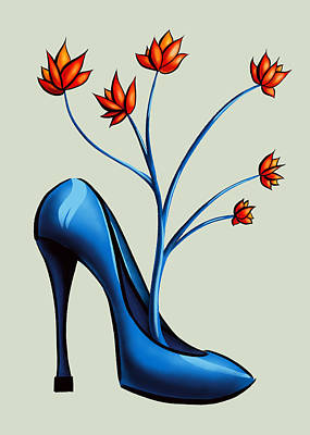 Recently Sold - Surrealism Royalty-Free and Rights-Managed Images - High Heel Shoe And Flower Bouquet Art by Boriana Giormova