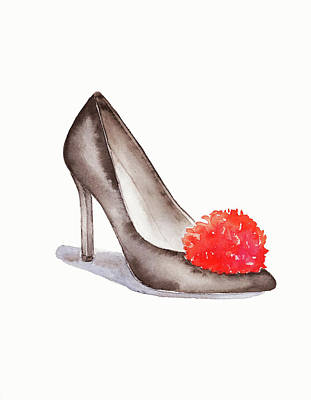 Painting - High Heel Shoes With Red Pompom By #mahsawatercolor by Mahsa Watercolor Artist