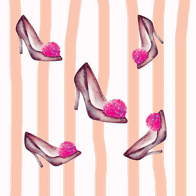 Painting - Highheels Shoes With Pink Pompom Pattern By #mahsawatercolor by Mahsa Watercolor Artist
