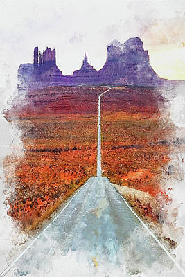 Painting - Highway In The Desert - 01 by Andrea Mazzocchetti